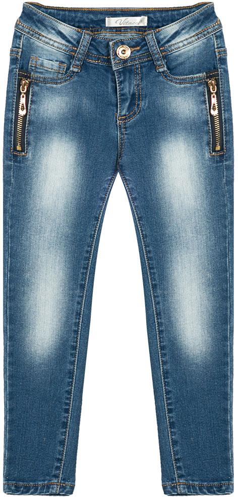 Джинсы для девочки Vitacci, цвет: синий. 2172159-04. Размер 1282172159-04Стильные узкие джинсы для маленькой модницы, оформленные декоративными молниями.