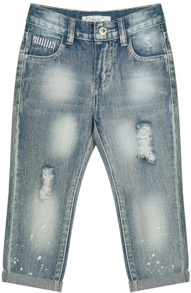 Джинсы для девочки Vitacci, цвет: синий. 2172184-04. Размер 1042172184-04Стильные джинсы-бермуды для маленькой модницы с отворотами и декоративной отделкой деталей.