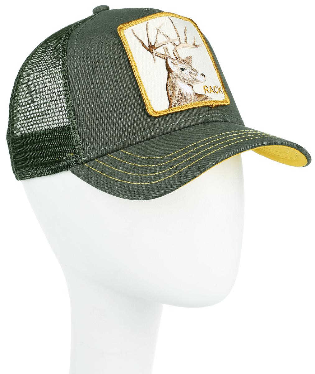 Бейсболка Goorin Brothers Rack, цвет: оливковый. 90-363-03-00. Размер универсальный90-363-03-00Стильная бейсболка Goorin Brothers, выполненная из полиэстера и хлопка, идеально подойдет для прогулок, занятия спортом и отдыха. Она надежно защитит вас от солнца и ветра. Задняя часть имеет сетчатую вставку для вентиляции воздуха. Изделие оформлено нашивкой с изображением оленя и надписью Rack. Обхват регулируется с помощью пластикового ремешка.
