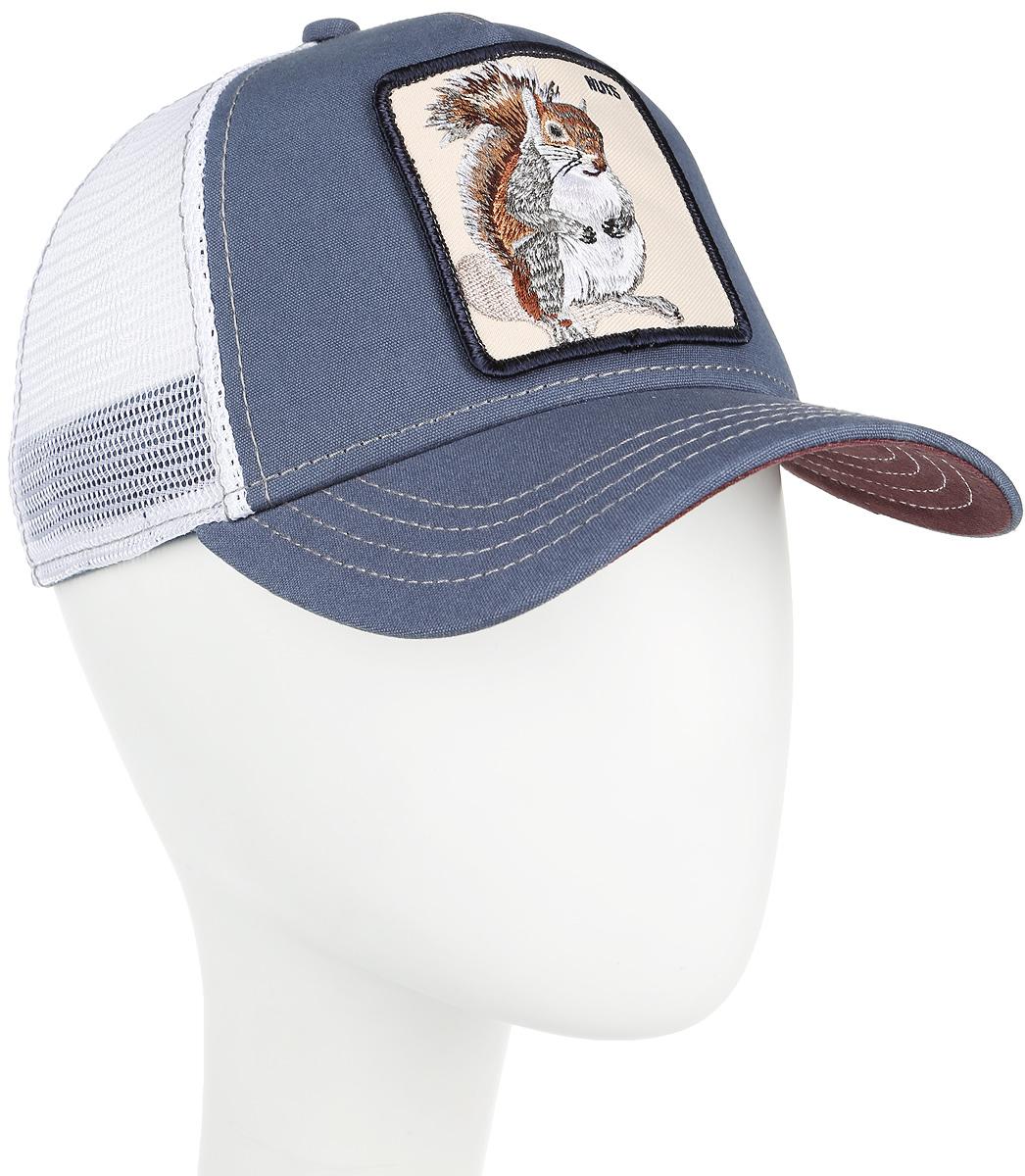 Бейсболка Goorin Brothers Nutty, цвет: синий, белый. 90-944-19-00. Размер универсальный90-944-19-00Стильная бейсболка Goorin Brothers, выполненная из полиэстера и хлопка, идеально подойдет для прогулок, занятия спортом и отдыха. Она надежно защитит вас от солнца и ветра. Задняя часть имеет сетчатую вставку для вентиляции воздуха. Изделие оформлено нашивкой с изображением белки и надписью Nuts. Обхват регулируется с помощью пластикового ремешка.