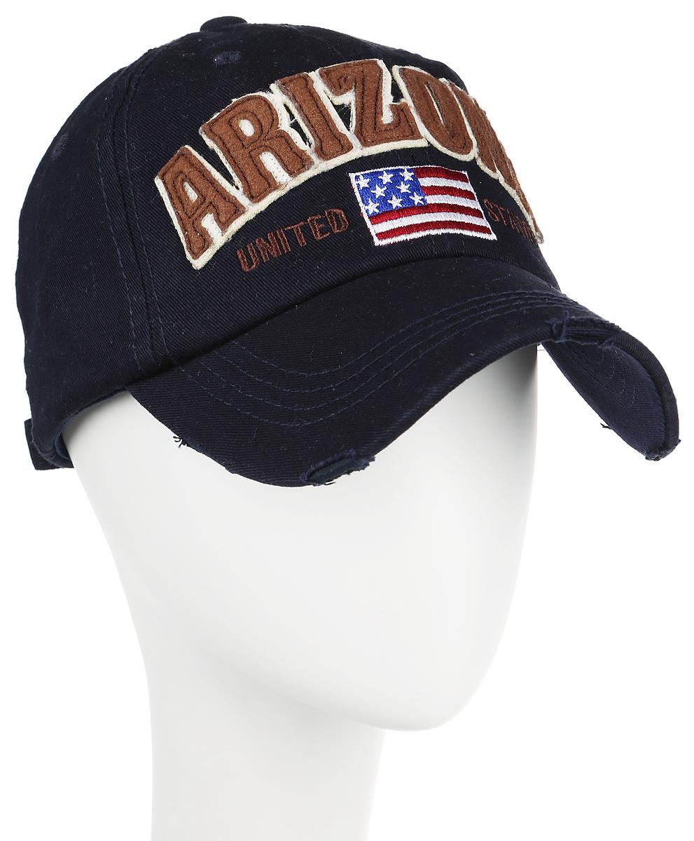 Бейсболка Herman Arizona, цвет: темно-синий. 80-256-16-00. Размер универсальный80-256-16-00Классическая хлопковая бейсболка Herman Arizona подойдет на любой размер головы. Сзади имеется хлястик для регулировки обхвата. Передняя часть украшена нашивками в виде названия штата ARIZONA и американского флага. Козырек имеет специальные элементы искусственного старения.