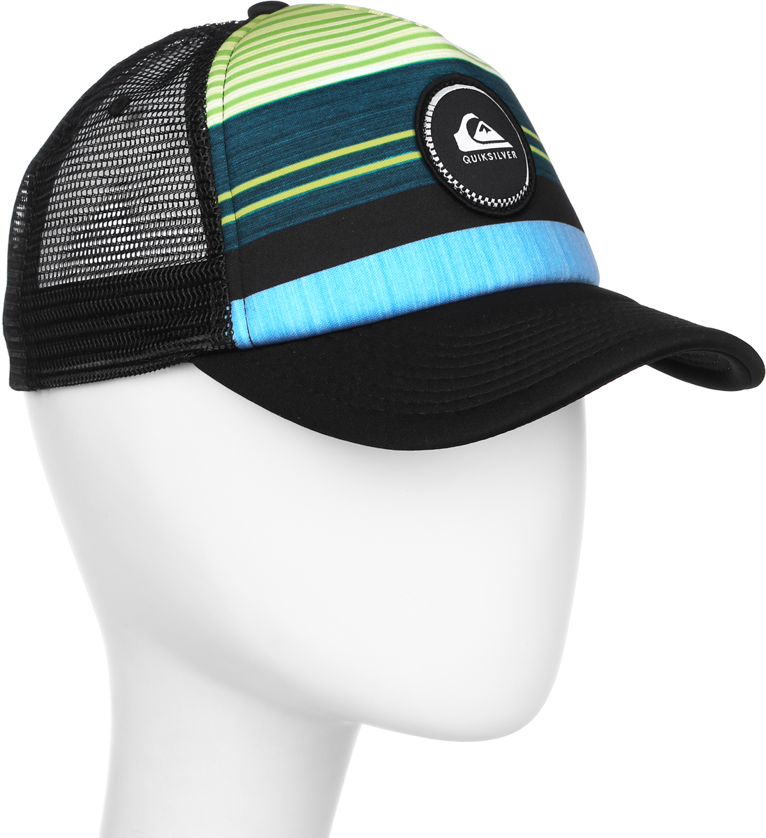 Бейсболка муж Quiksilver Striped Vee, цвет: черный, зелоный, голубой. AQYHA03727-BSG0. Размер универсальныйAQYHA03727-BSG0