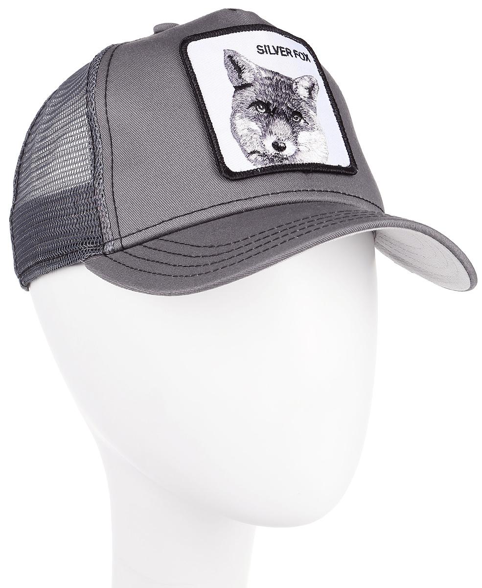Бейсболка Goorin Brothers SILVER FOX, цвет: серый. 91-109-08-00. Размер универсальный91-109-08-00Стильная бейсболка Goorin Brothers, выполненная из полиэстера и хлопка, идеально подойдет для прогулок, занятия спортом и отдыха. Она надежно защитит вас от солнца и ветра. Задняя часть имеет сетчатую вставку для вентиляции воздуха. Изделие оформлено нашивкой с изображением лисы и надписью SILVER FOX. Обхват регулируется с помощью пластикового ремешка.