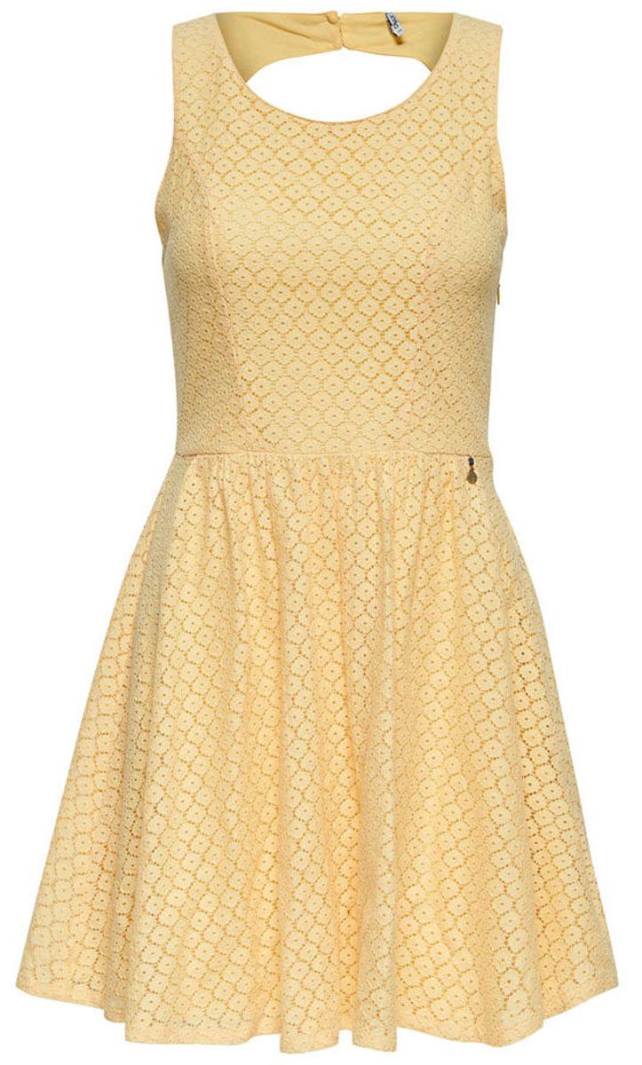 Платье женское Only, цвет: желтый. 15114482_Pale Banana. Размер 42 (48)15114482_Pale BananaСтильное платье Only, выполненное из высококачественного материала, прекрасный вариант для модных женщин, желающих подчеркнуть свою индивидуальность и хороший вкус. Модель без рукавов, с круглым вырезом горловины и открытой спиной сзади застегивается на две пуговице.Красивое и необычное платье сделает вас неотразимой и потрясающей.