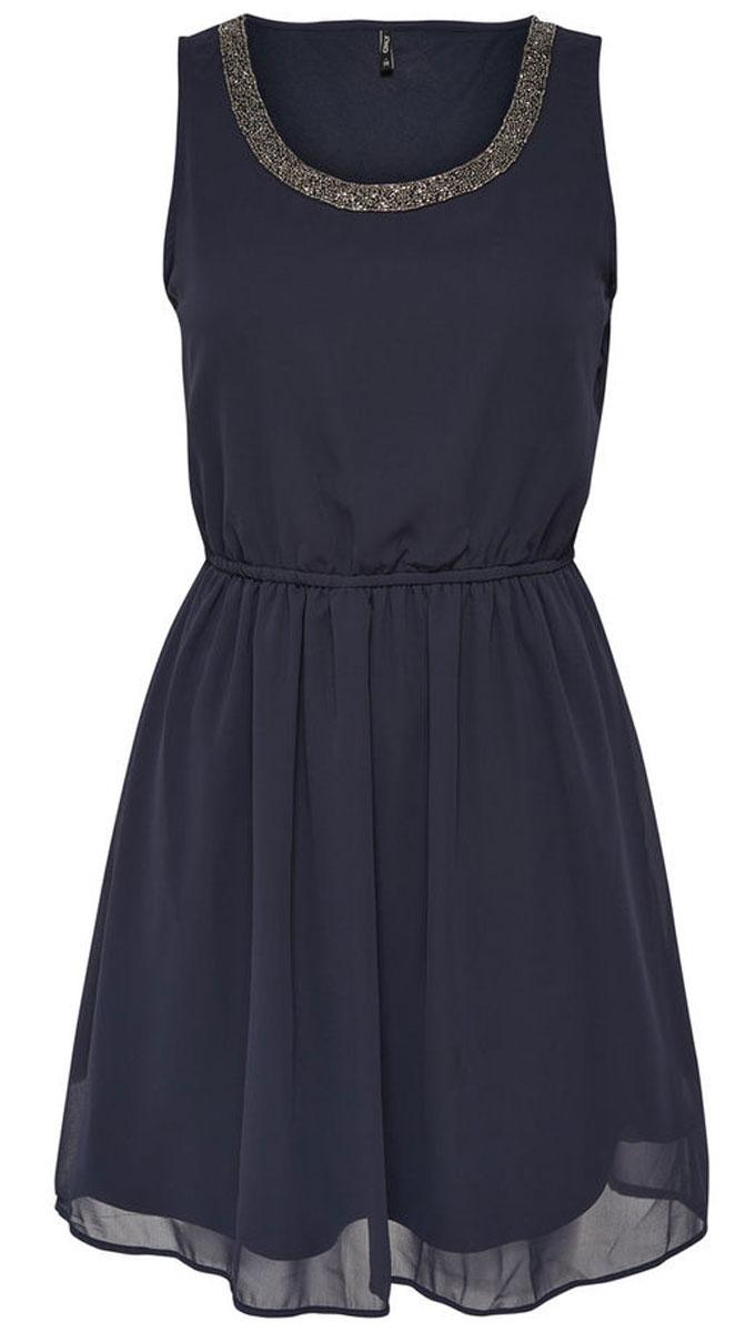 Платье женское Only, цвет: синий. 15135571_Night Sky. Размер 34 (40)15135571_Night SkyСтильное платье Only, выполненное из высококачественного материала, прекрасный вариант для модных женщин, желающих подчеркнуть свою индивидуальность и хороший вкус. Модель без рукавов, с круглым вырезом горловины, застегивается на молнию сбоку. Платье приталенное на резинке, оно предаст еще более привлекательный силуэт своей владелице. Красивое и необычное платье сделает вас неотразимой и потрясающей.