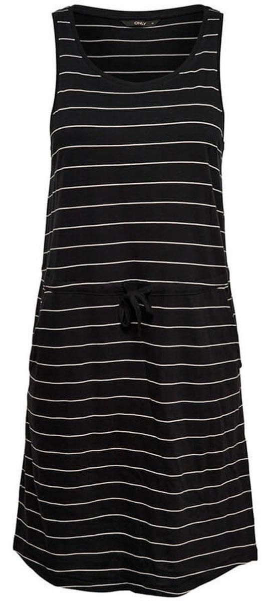 Платье женское Only, цвет: черный. 15136244_Black. Размер L (48)15136244_BlackЖенское повседневное платье Only изготовлено из мягкого трикотажа, послужит идеальным дополнением к Вашему гардеробу. Платье с кулиской на талии, дополненобоковыми карманами.