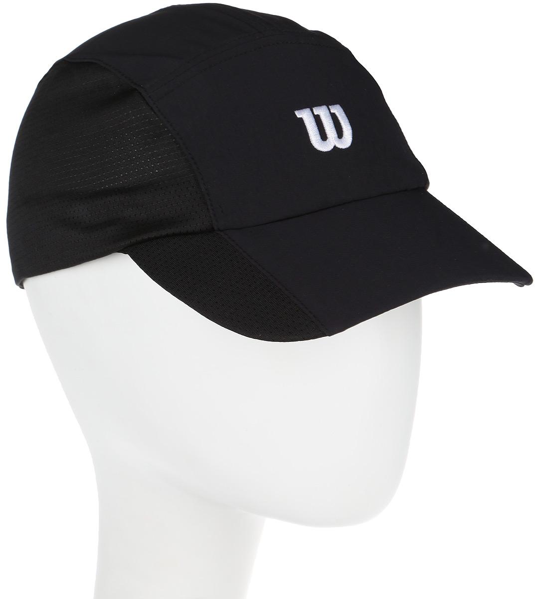 Бейсболка для тенниса Wilson Rush Stretch Woven Cap, цвет: черный. WR5004700. Размер универсальныйWR5004700Бейсболка Wilson является отличным аксессуаром для занятий спортом. Удобная и практичная, она обеспечит вам надежную защиту от неблагоприятных погодных условий. Вентиляционные отверстия и эластичный край для комфортной посадки.
