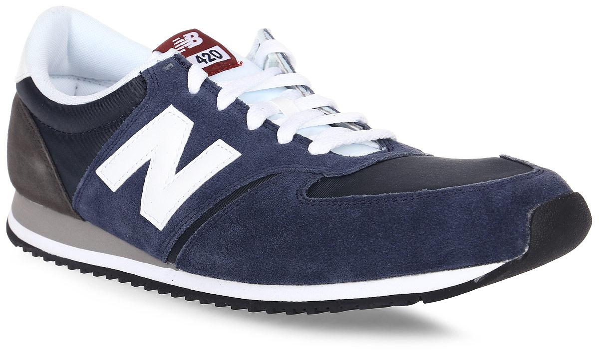 Кроссовки мужские New Balance 420, цвет: синий, белый, черный. U420CNW/D. Размер 8,5 (42)U420CNW/DСтильные мужские кроссовки от New Balance придутся вам по душе. Верх модели выполнен из высококачественныхматериалов. По бокам обувь оформлена декоративными элементами в виде фирменного логотипа бренда, на язычке - фирменной нашивкой, задник логотипом бренда. Классическая шнуровка надежно зафиксирует изделие на ноге. Подкладка и стелька, изготовленные из текстиля, гарантируют уют и предотвращают натирание. Подошва оснащена рифлением для лучшей сцепки с поверхностями. Удобные кроссовки займут достойное место среди коллекции вашей обуви.