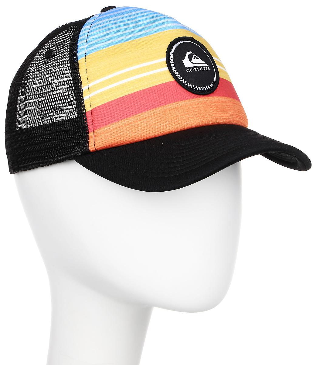 Бейсболка муж Quiksilver Striped Vee, цвет: черный, желтый, голубой. AQYHA03727-NKM0. Размер универсальныйAQYHA03727-NKM0