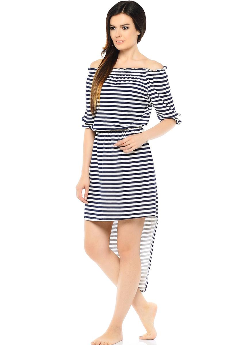 Платье HomeLike, цвет: темно-синий, белый. 195. Размер 48195Стильное платье HomeLike оригинального дизайна из трикотажного полотна в полоску. Открытые плечи, рукава 3/4, зона декольте и линия талии присобраны на широкой резинке, образуя легкую воздушность. Модный шлейф изысканно дополняет и украшает платье. Оно красиво садится по фигуре, скрывает несовершенства, подчеркивает достоинства, создает комфорт.