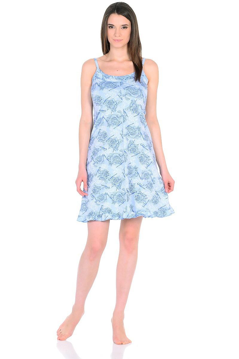 Ночная рубашка женская HomeLike, цвет: голубой. 235/1. Размер 54235/1Легкая ночная сорочка HomeLike на тонких бретелях, трапециевидного покроя, изготовлена из кулирки в нежной освежающей расцветке, оформлена по линии груди и низу изделия оборкой с окантовочным швом. Безусловным достоинством модели является мягкое полотно из чистого хлопка - залог крепкого и спокойного сна!