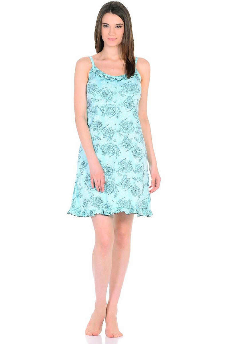 Ночная рубашка женская HomeLike, цвет: бирюзовый. 235/1. Размер 46235/1Легкая ночная сорочка HomeLike на тонких бретелях, трапециевидного покроя, изготовлена из кулирки в нежной освежающей расцветке, оформлена по линии груди и низу изделия оборкой с окантовочным швом. Безусловным достоинством модели является мягкое полотно из чистого хлопка - залог крепкого и спокойного сна!