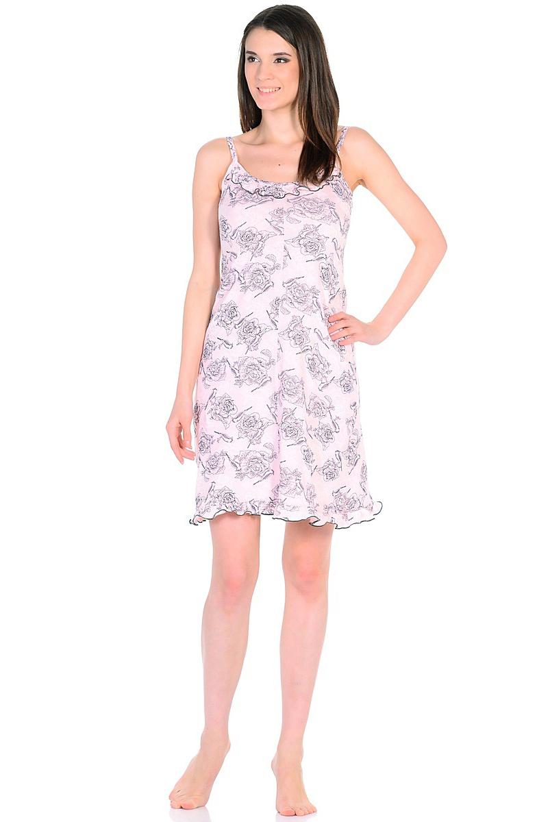 Ночная рубашка женская HomeLike, цвет: розовый. 235/1. Размер 46235/1Легкая ночная сорочка HomeLike на тонких бретелях, трапециевидного покроя, изготовлена из кулирки в нежной освежающей расцветке, оформлена по линии груди и низу изделия оборкой с окантовочным швом. Безусловным достоинством модели является мягкое полотно из чистого хлопка - залог крепкого и спокойного сна!