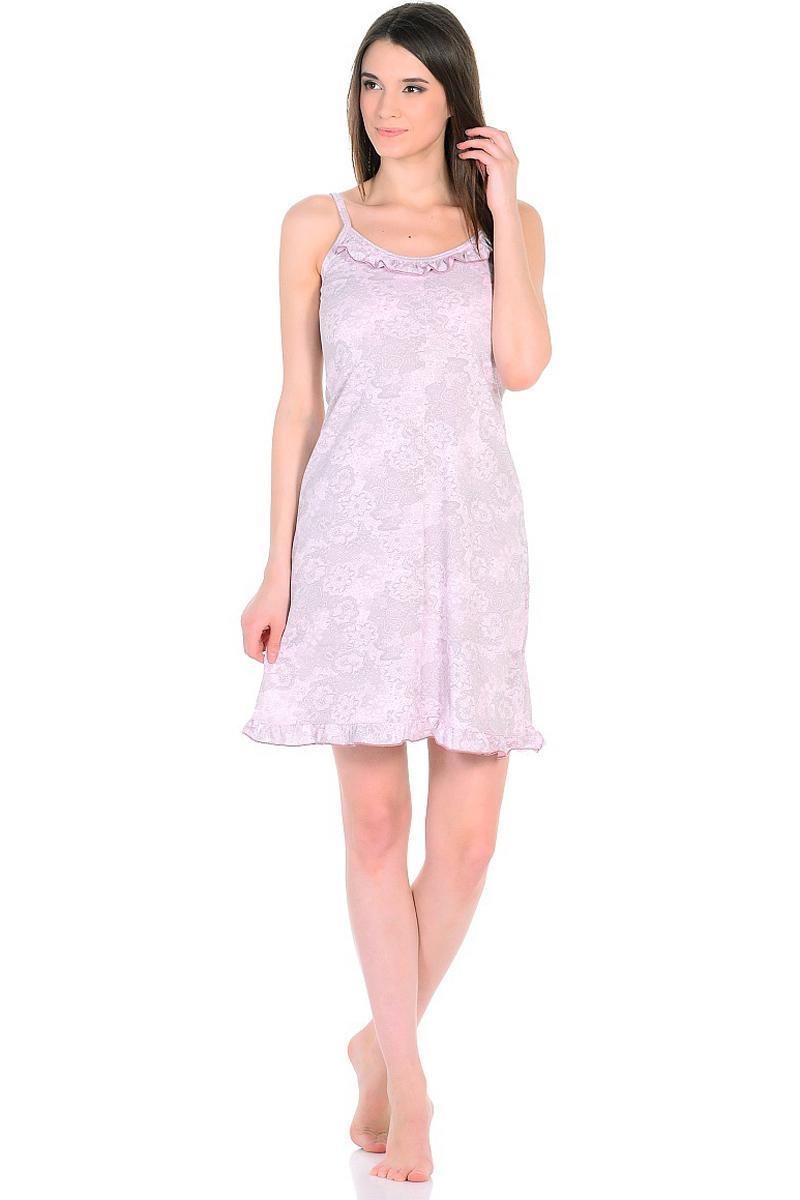 Ночная рубашка женская HomeLike, цвет: розовый, серый. 235/2. Размер 42235/2Легкая ночная сорочка HomeLike на тонких бретелях, трапециевидного покроя, изготовлена из кулирки в нежной освежающей расцветке, оформлена по линии груди и низу изделия оборкой с окантовочным швом. Безусловным достоинством модели является мягкое полотно из чистого хлопка - залог крепкого и спокойного сна!