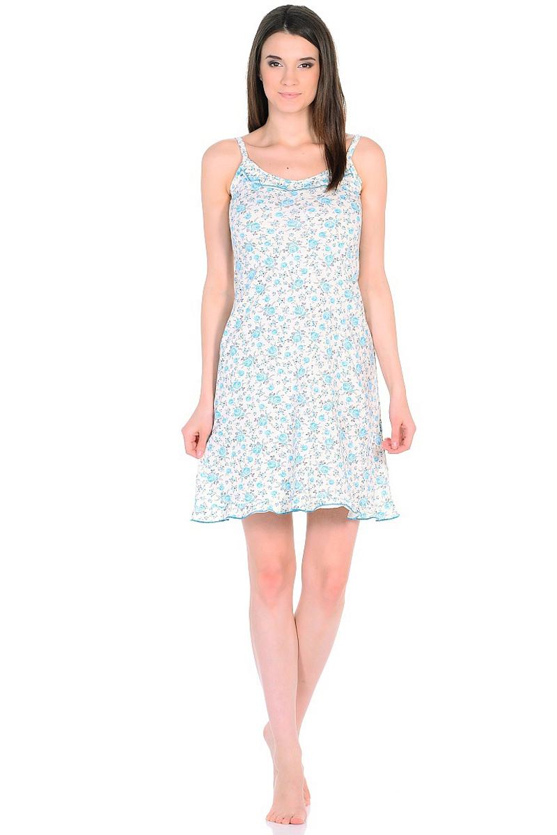 Ночная рубашка женская HomeLike, цвет: молочный, голубой. 235/3. Размер 48235/3Легкая ночная сорочка HomeLike на тонких бретелях, трапециевидного покроя, изготовлена из кулирки в нежной освежающей расцветке, оформлена по линии груди и низу изделия оборкой с окантовочным швом. Безусловным достоинством модели является мягкое полотно из чистого хлопка - залог крепкого и спокойного сна!