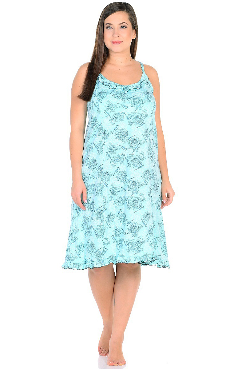 Ночная рубашка женская HomeLike, цвет: бирюзовый. 236/1. Размер 56236/1Комфортная ночная сорочка HomeLike на тонких бретелях, трапециевидного, покроя с рельефами, изготовлена из кулирки в нежной освежающей расцветке, оформлена по линии груди и низу изделия оборками с окантовочным швом. Безусловным достоинством модели является мягкое полотно из чистого хлопка - залог крепкого и спокойного сна!