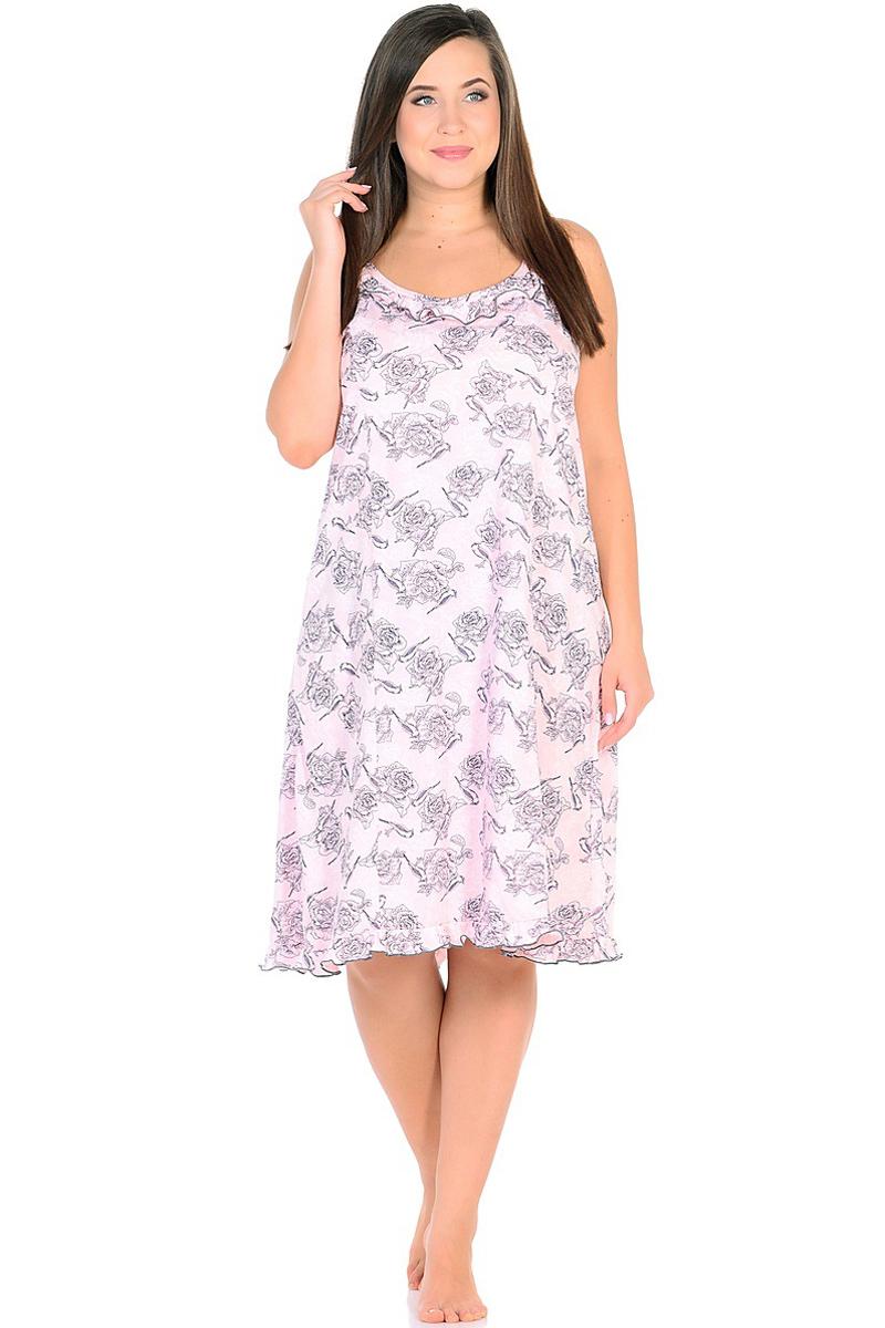 Ночная рубашка женская HomeLike, цвет: розовый. 236/1. Размер 60236/1Комфортная ночная сорочка HomeLike на тонких бретелях, трапециевидного, покроя с рельефами, изготовлена из кулирки в нежной освежающей расцветке, оформлена по линии груди и низу изделия оборками с окантовочным швом. Безусловным достоинством модели является мягкое полотно из чистого хлопка - залог крепкого и спокойного сна!