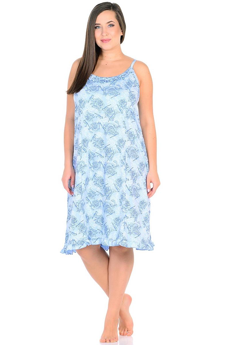 Ночная рубашка женская HomeLike, цвет: голубой. 236/1. Размер 58236/1Комфортная ночная сорочка HomeLike на тонких бретелях, трапециевидного, покроя с рельефами, изготовлена из кулирки в нежной освежающей расцветке, оформлена по линии груди и низу изделия оборками с окантовочным швом. Безусловным достоинством модели является мягкое полотно из чистого хлопка - залог крепкого и спокойного сна!
