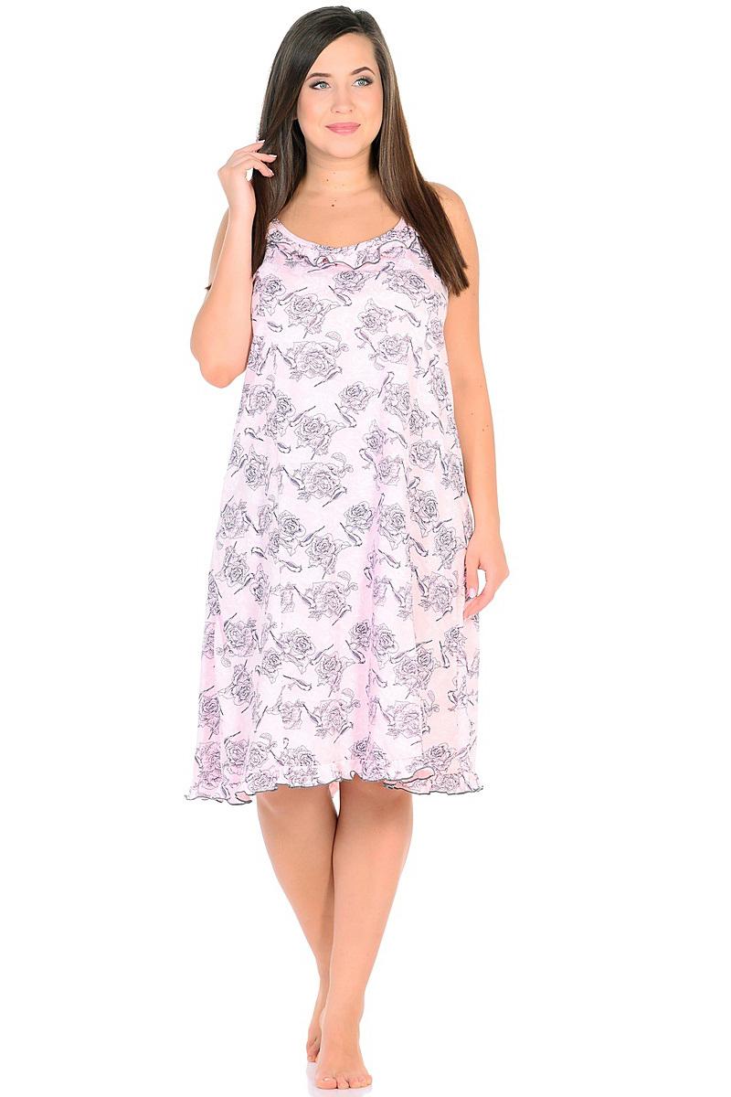 Ночная рубашка женская HomeLike, цвет: розовый, серый. 236/2. Размер 60236/2Комфортная ночная сорочка HomeLike на тонких бретелях, трапециевидного, покроя с рельефами, изготовлена из кулирки в нежной освежающей расцветке, оформлена по линии груди и низу изделия оборками с окантовочным швом. Безусловным достоинством модели является мягкое полотно из чистого хлопка - залог крепкого и спокойного сна!