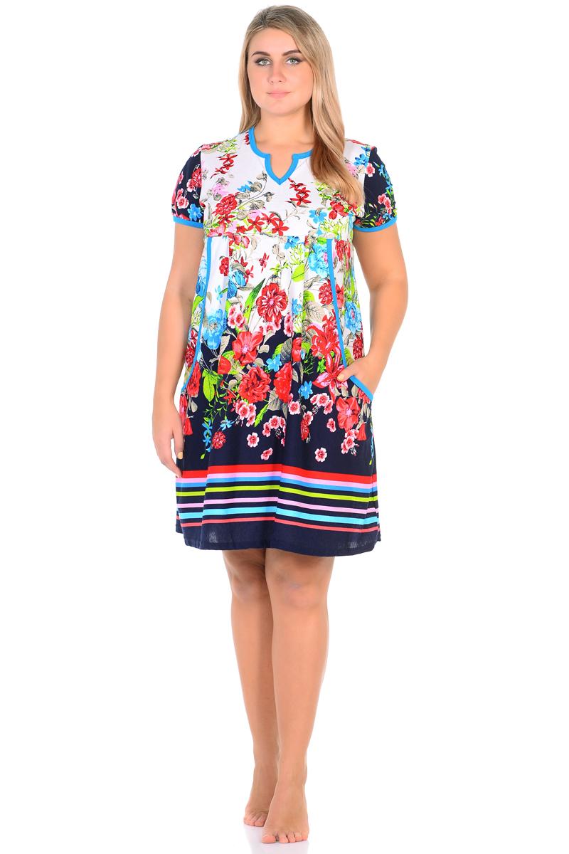 Платье домашнее HomeLike, цвет: белый, красный, голубой. 576. Размер 50576Домашнее платье HomeLike свободного силуэта выполнено из мягкого трикотажа. Фигурный вырез горловины, короткие рукава, струящиеся складки от кокетки обеспечивают комфорт и свободу движениям, яркий цветочный рисунок придает внешности красочного разнообразия.