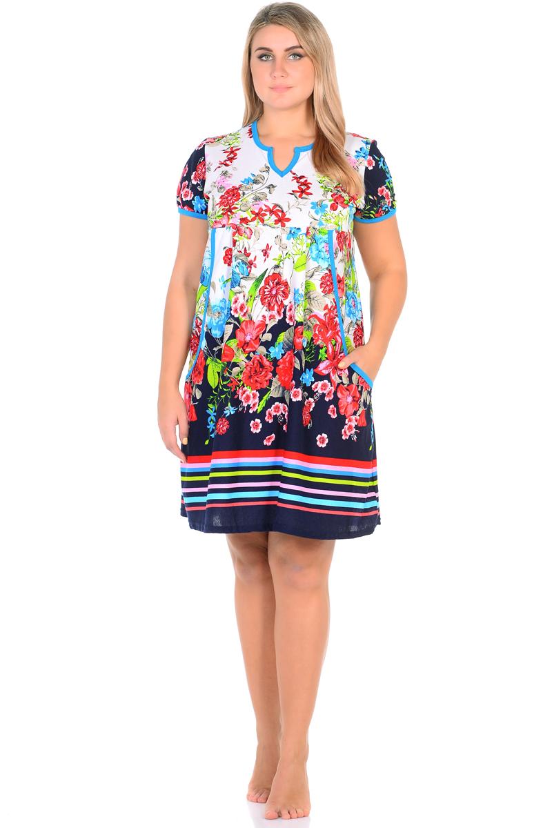 Платье домашнее HomeLike, цвет: темно-синий, красный, голубой. 576. Размер 60576Домашнее платье HomeLike свободного силуэта выполнено из мягкого трикотажа. Фигурный вырез горловины, короткие рукава, струящиеся складки от кокетки обеспечивают комфорт и свободу движениям, яркий цветочный рисунок придает внешности красочного разнообразия.