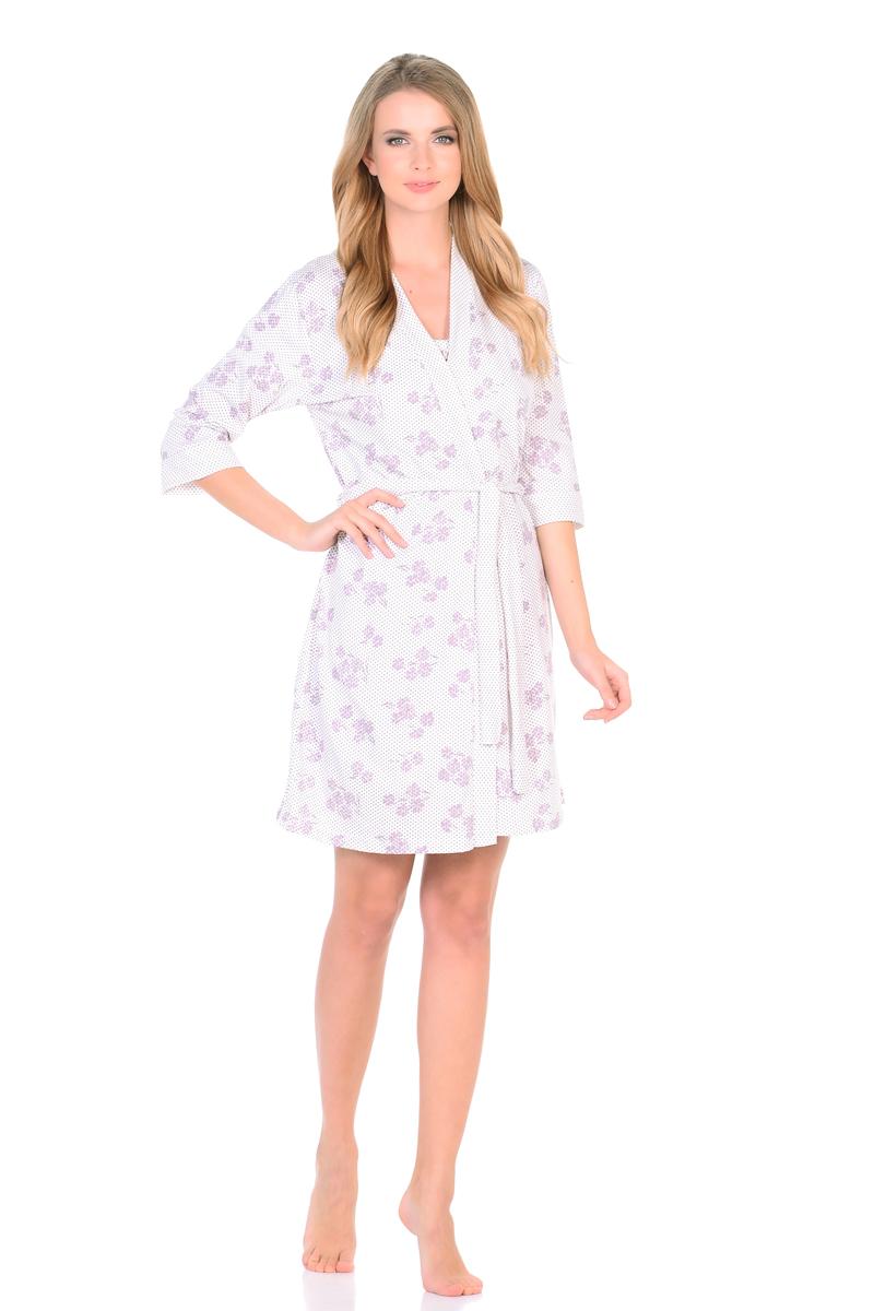 Домашний комплект женский HomeLike: халат, ночная сорочка, цвет: молочный. 685. Размер 50685Превосходный комплект домашней одежды HomeLike, состоящий из халат-кимоно и ночной сорочки, изготовлен из трикотажного полотна кулирка в нежной расцветке. Халат-кимоно на запах с поясом, с рукавами 3/4. Сорочка на тонких бретелях, полуприталенного силуэта, декорирована легкой оборочкой по линии груди. Приятный мягкий трикотаж и удобный крой, создают комфорт для тела во время сна и домашнего отдыха.