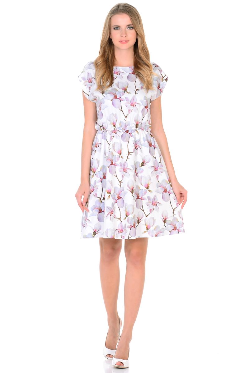 Платье HomeLike, цвет: белый, розовый. 739. Размер 48739Мини-платье от HomeLike Орхидея легкое и воздушное, с короткими цельнокроенными рукавами и округлым вырезом горловины. Женственный силуэт присобран по талии на мягкую резиночку и создает струящиеся складочки, имеющийся подъюбник выполняет эстетическую и практичную функцию, помогает сохранять красивую форму. Особое очарование платью придает объемный принт орхидеи, нежные цветы создают весеннее настроение, привлекают внимание, делая образ неповторимым и запоминающимся.