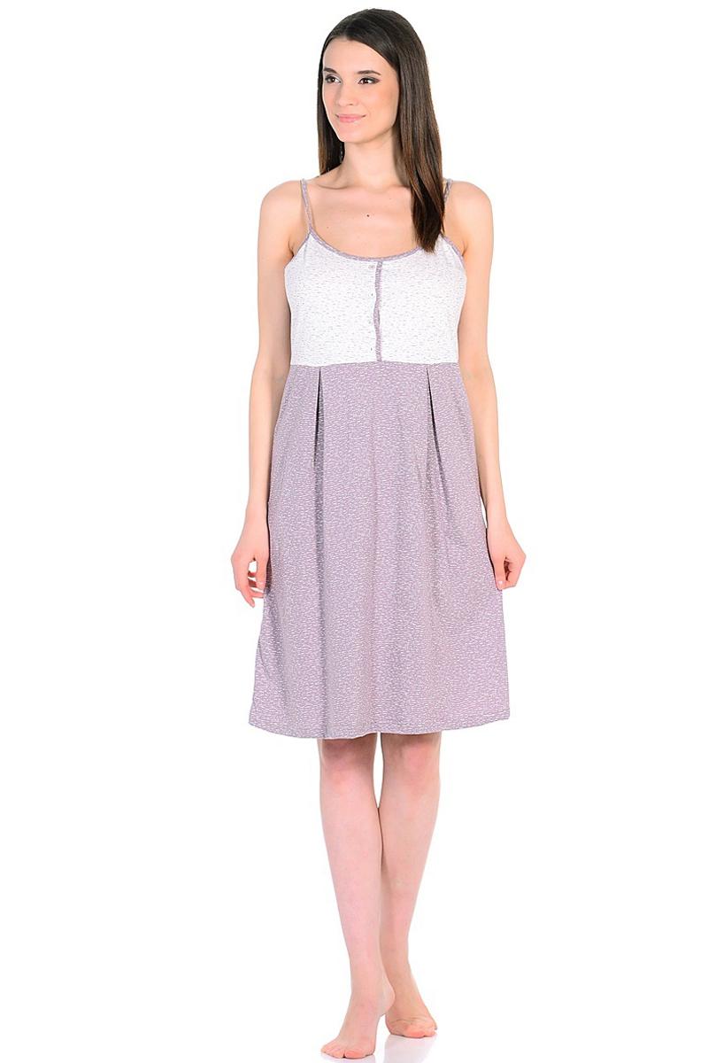Ночная рубашка женская HomeLike, цвет: молочный, сиреневый. 743. Размер 44743Ночная сорочка HomeLike трикотажная на тонких бретелях, трапециевидного кроя с защипами от кокетки с декоративной планкой на пуговицах. Фасон по типу легкого платьица красиво смотрится на фигуре, нежные оттенки в расцветке освежают образ, улучшают настроение. Ткань мягкая, приятная к телу, в такой сорочке всегда легко и комфортно как ночью, так и днем.