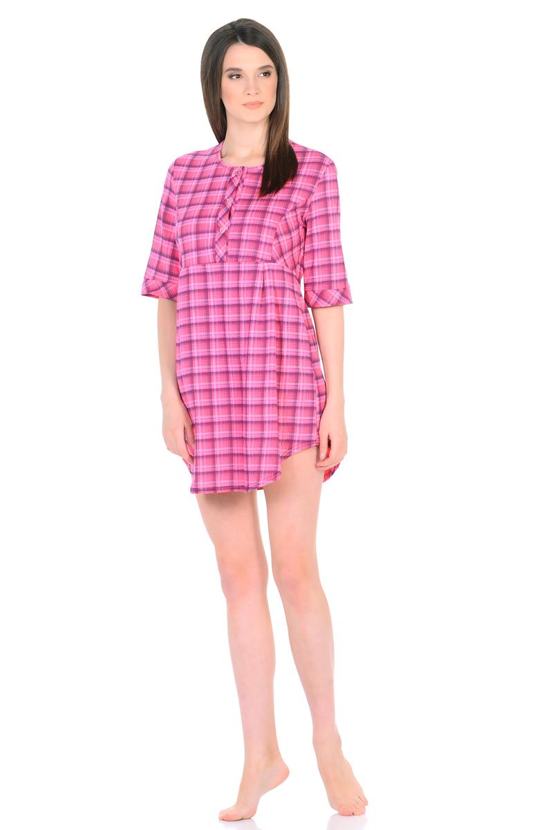Платье домашнее HomeLike, цвет: розовый. 762. Размер 48762Домашнее платье HomeLike свободного силуэта от кокетки и срукавами 3/4 выполнено из трикотажа в клетку. Фигурный низ придает изделию изящную форму, подчеркивает стройность ног. Рисунок в клетку всегда в моде, к тому же он способен корректировать силуэт тем, кто в этом нуждается. Округлый вырез горловины с планкой на пуговицах создает удобство при одевании и дополняет современный дизайн. Платье отлично садится по фигуре, не сковывает движений, создает ощущения легкости и комфорта.
