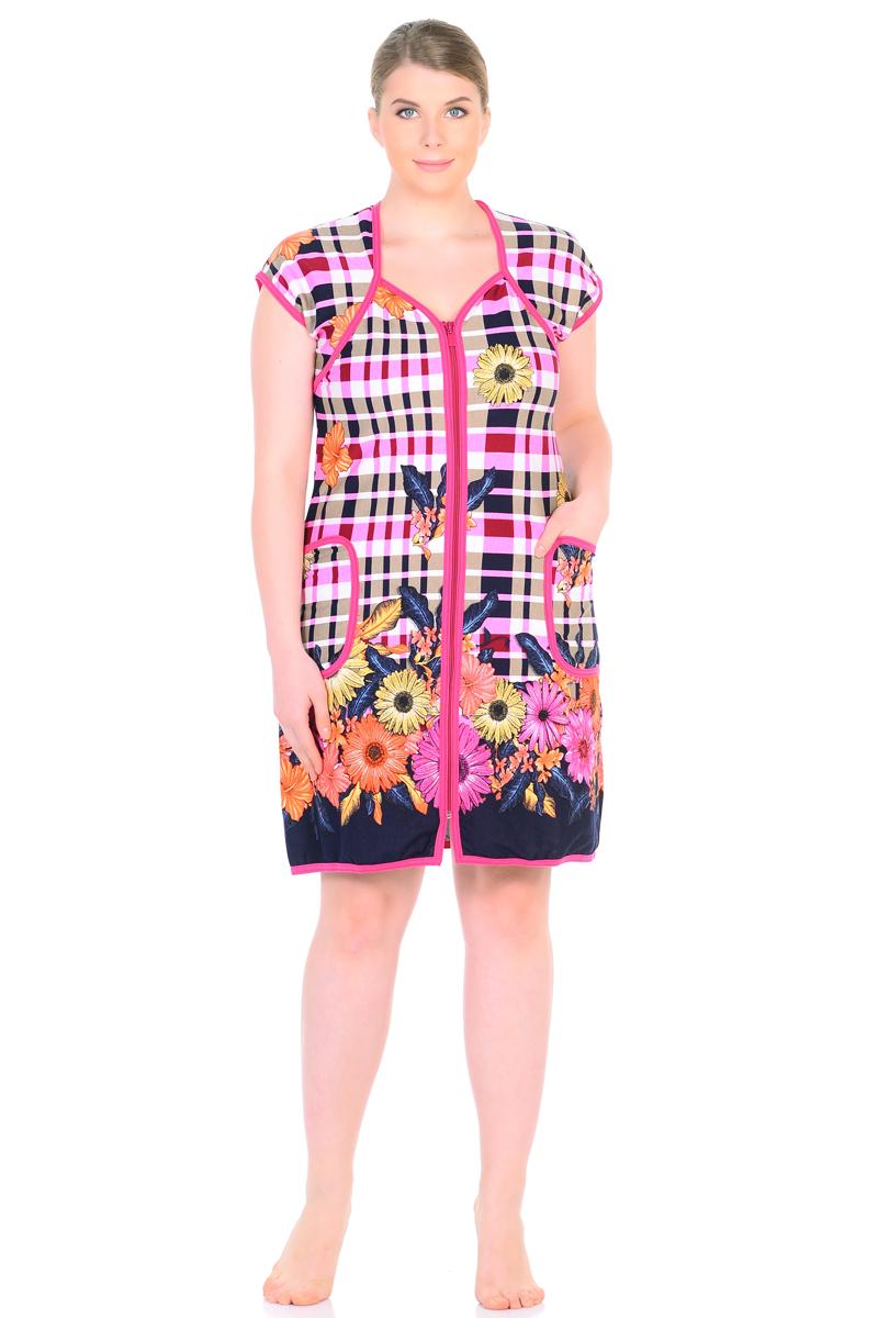 Халат женский HomeLike, цвет: розовый, оранжевый. 790. Размер 58790Халат трикотажный HomeLike на молнии, полуприталенного силуэта, с короткими рукавами реглан, и с фигурным вырезом горловины, дополнен накладными карманами, обработан контрастной окантовкой. Халат в красивой современной расцветке, отлично садится по фигуре любого типа. Комфортный, практичный и многофункциональный вариант одежды для дома и дачи.