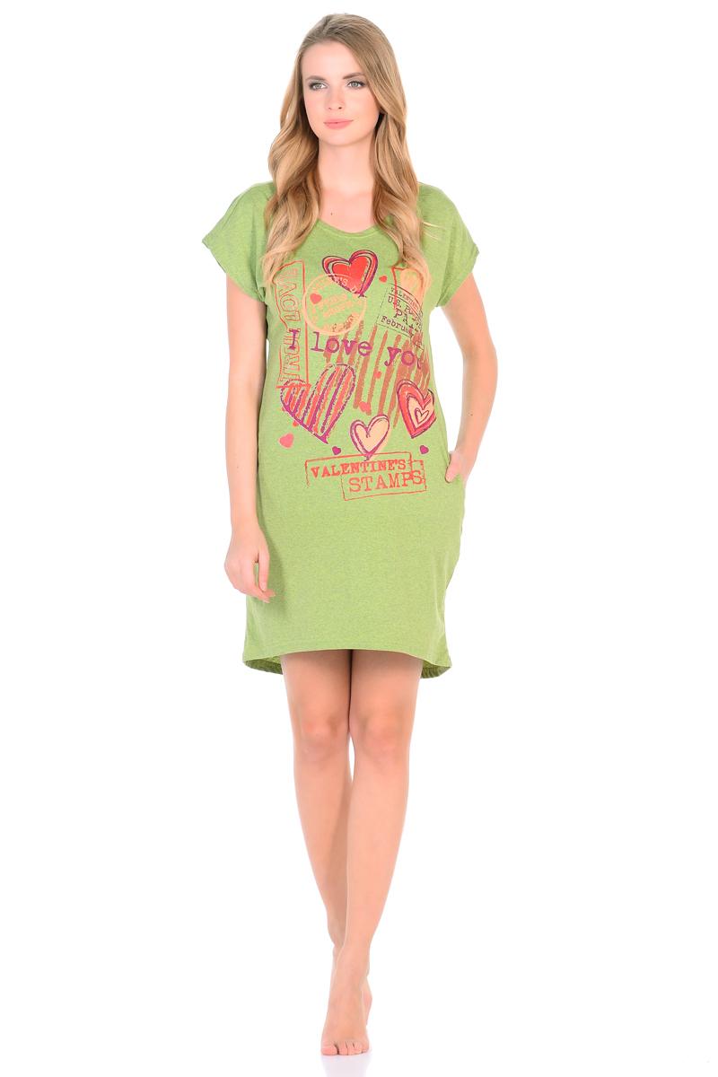 Платье домашнее HomeLike, цвет: оливковый. 793. Размер 46793Домашнее платье HomeLike из трикотажного полотна, полуприталенного силуэта, с удлиненной спинкой, с короткими цельнокроеными рукавами и округлым вырезом горловины, в боковых швах карманы. Платье в привлекательной расцветке, декорировано романтичным принтом. Комфортный фасон без лишних деталей обеспечивает легкость и свободу движениям, оптимальная длина позволяет носить эту модель как мини-платье или как тунику, комбинировать с леггинсами, облегающими бриджами и лосинами.
