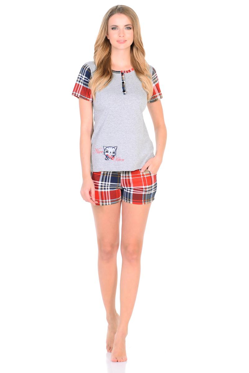 Домашний комплект женский HomeLike: футболка, шорты, цвет: серый, красный. 794. Размер 42794Комплект домашней одежды HomeLike, состоящий из футболки и шорт. Футболка прямого покроя, с короткими рукавами, с округлым вырезом горловины и с короткой планкой на пуговицах. Основной крой выполнен из трикотажа в цвете меланж, рукава, окантовка по горловине и планка из трикотажа в клетку, сбоку внизу украшает очаровательный принт. Короткие шорты в клетку, с поясом на резинке, по бокам карманы. Комплект безупречно смотрится, идеально сидит, не сковывает движений, удобен для сна и домашнего отдыха.