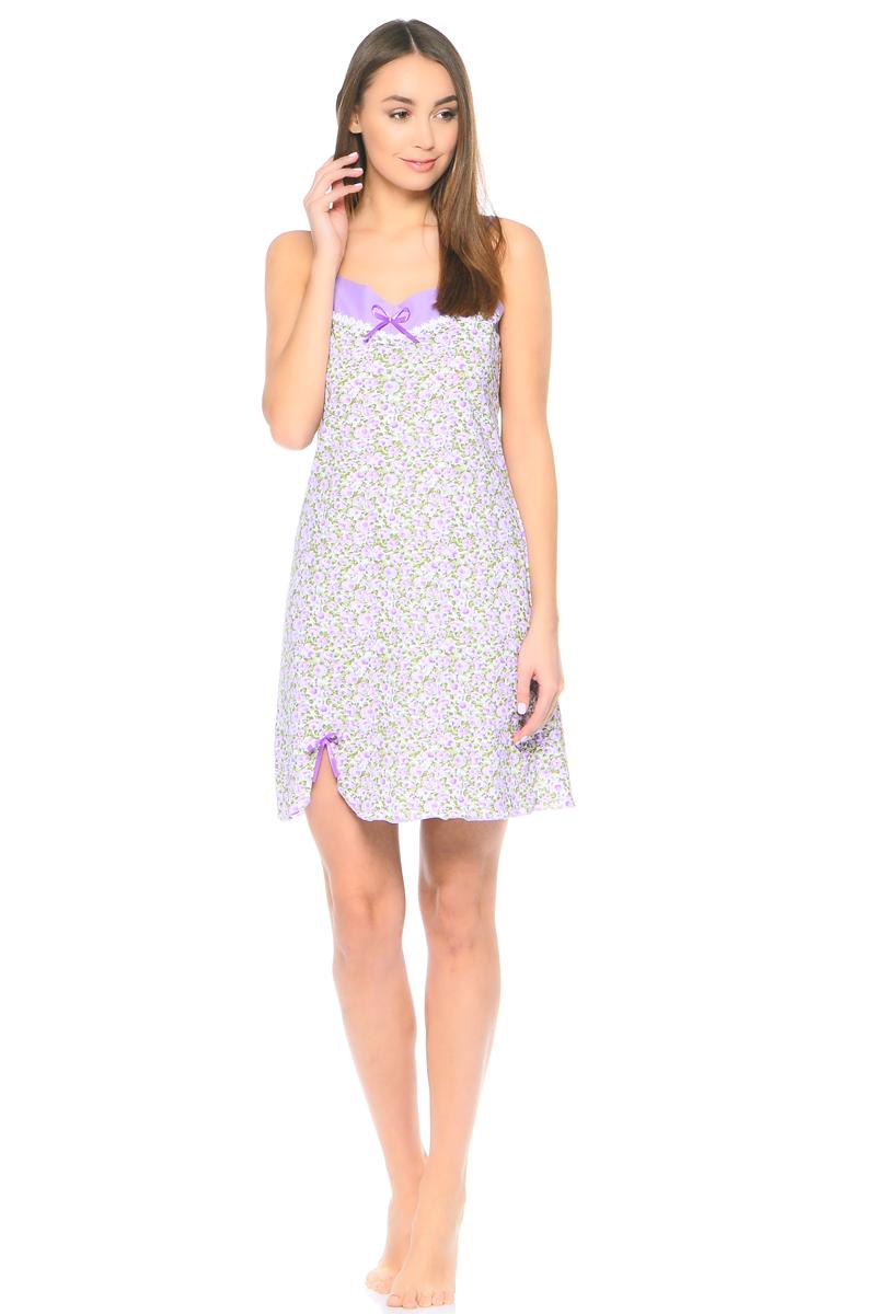 Ночная рубашка женская HomeLike, цвет: сиреневый, зеленый, белый. 804. Размер 44804Ночная сорочка HomeLike трапециевидного покроя, на тонких бретелях, изготовлена из мягкого трикотажного полотна в нежной расцветке. Сорочка оформлена декоративной лентой и атласным бантиком по линии груди и в основании небольшого разреза внизу сбоку. Хлопковый трикотаж приятен к телу, удобный крой не сковывает движений, создает ощущения легкости и комфорта во время сна.