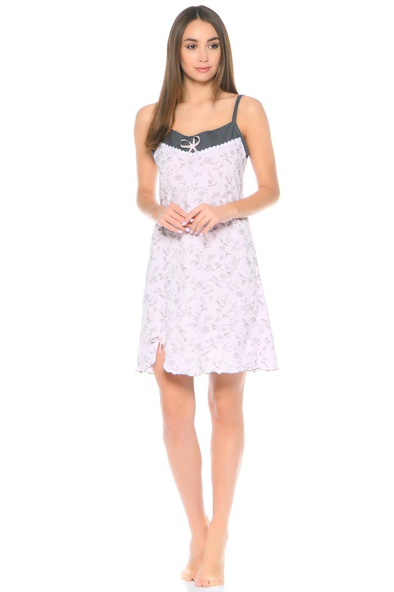 Ночная рубашка женская HomeLike, цвет: розовый, серый. 804. Размер 56804Ночная сорочка HomeLike трапециевидного покроя, на тонких бретелях, изготовлена из мягкого трикотажного полотна в нежной расцветке. Сорочка оформлена декоративной лентой и атласным бантиком по линии груди и в основании небольшого разреза внизу сбоку. Хлопковый трикотаж приятен к телу, удобный крой не сковывает движений, создает ощущения легкости и комфорта во время сна.