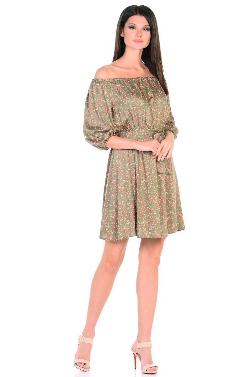 Платье HomeLike, цвет: оливковый, коралловый. 815. Размер 52815Восхитительное платье HomeLike из струящегося невесомого материала в изысканной расцветке. Модель с расклешенной юбкой. Глубокий вырез горловины, основания рукавов 3/4 и линия талии присобраны на мягкие резиночки, придавая эффект легкой воздушности. При желании можно обнажить плечи. Пояс придает свою изюминку, делая образ более совершенным. Это прекрасное платье дарит ощущения легкости и комфорта в процессе носки, модель безупречно садится на фигуру любого типа, скрывает возможные несовершенства, подчеркивает красоту и женственность.