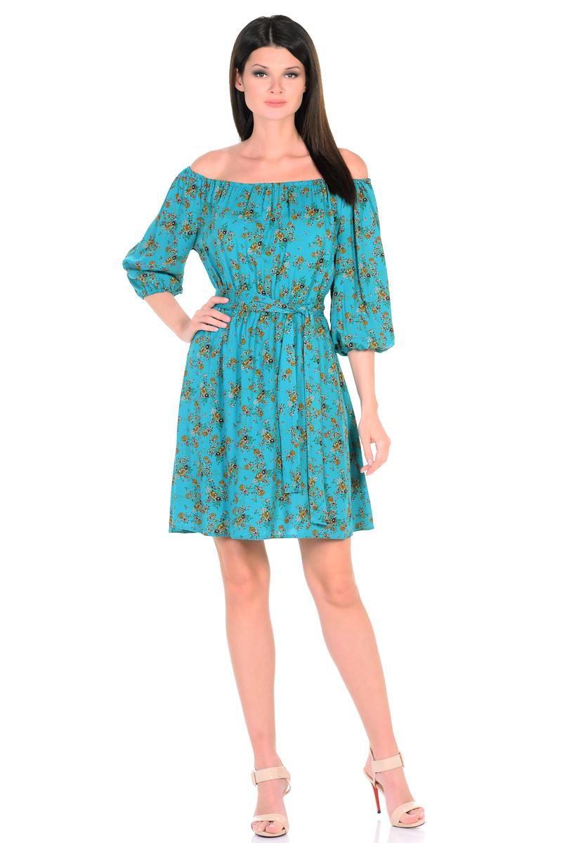 Платье HomeLike, цвет: бирюзовый, коричневый. 815. Размер 46815Восхитительное платье HomeLike из струящегося невесомого материала в изысканной расцветке. Модель с расклешенной юбкой. Глубокий вырез горловины, основания рукавов 3/4 и линия талии присобраны на мягкие резиночки, придавая эффект легкой воздушности. При желании можно обнажить плечи. Пояс придает свою изюминку, делая образ более совершенным. Это прекрасное платье дарит ощущения легкости и комфорта в процессе носки, модель безупречно садится на фигуру любого типа, скрывает возможные несовершенства, подчеркивает красоту и женственность.