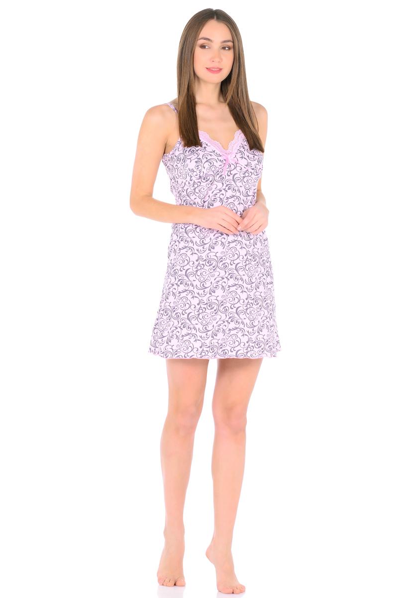 Ночная рубашка женская HomeLike, цвет: розовый, серый. 829. Размер 54829Трикотажная ночная сорочка HomeLike в красивой расцветке. Изящная модель трапециевидного покроя, на бретелях, вырез декольте обрамлен нежным кружевом с декором атласной ленточкой. Линия низа обработана окантовочным швом. Мягкий хлопковый трикотаж приятен для тела, удобный крой не сковывает движений, в такой сорочке обеспечен спокойный и полноценный отдых и сон.