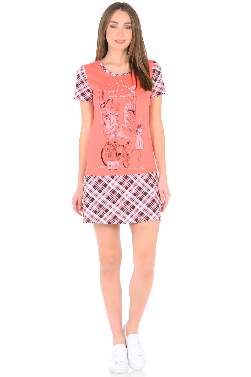 Платье домашнее HomeLike, цвет: коралловый. 831. Размер 46831Домашнее мини-платье HomeLike выполнено из трикотажного полотна в комбинированной расцветке, полуприталенного силуэта с трапециевидной юбкой от бедра. Основной крой в однотонном цвете гармонично дополняют короткие рукава и юбка в клетку и такая же окантовка по округлому вырезу горловины. Стильный принт на передней части подчеркивает непринужденный дизайн. Такое платье актуально для дома и дачи, а так же и для летних прогулок.