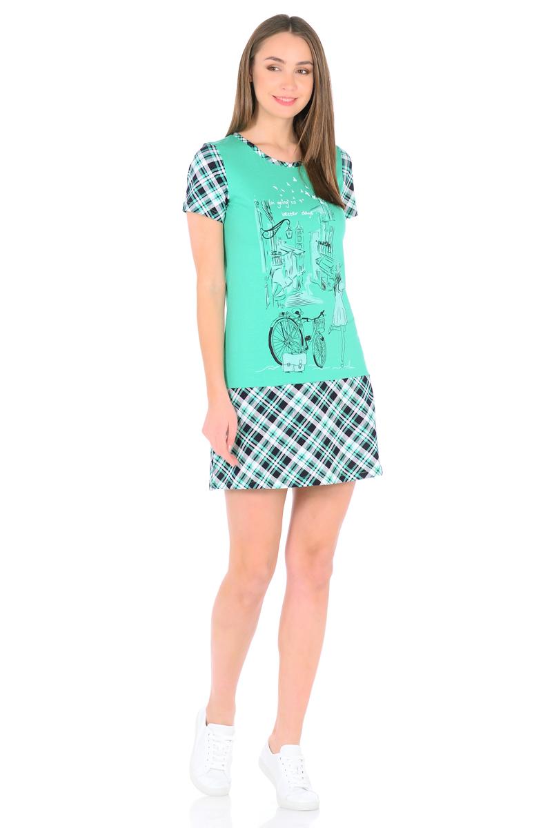 Платье домашнее HomeLike, цвет: зеленый. 831. Размер 48831Домашнее мини-платье HomeLike выполнено из трикотажного полотна в комбинированной расцветке, полуприталенного силуэта с трапециевидной юбкой от бедра. Основной крой в однотонном цвете гармонично дополняют короткие рукава и юбка в клетку и такая же окантовка по округлому вырезу горловины. Стильный принт на передней части подчеркивает непринужденный дизайн. Такое платье актуально для дома и дачи, а так же и для летних прогулок.