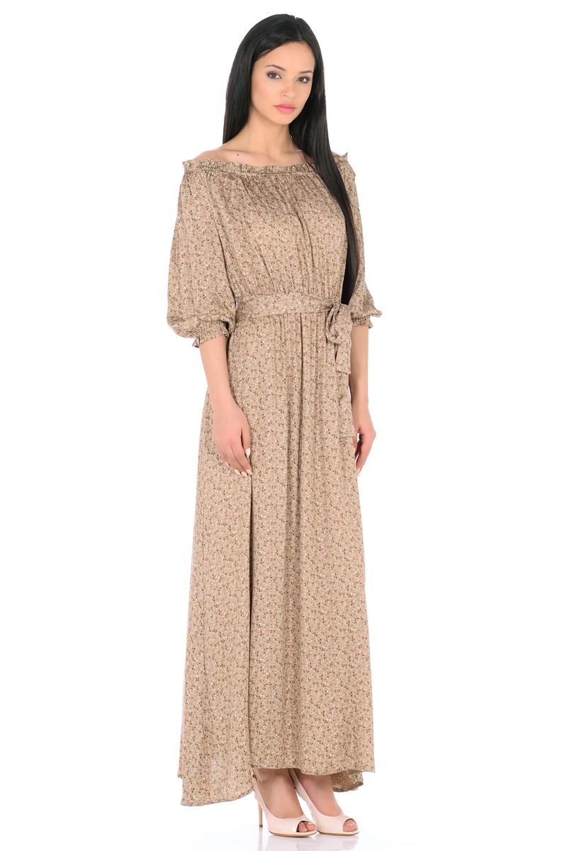 Платье HomeLike, цвет: бежевый, розовый, зеленый. 848. Размер 50848Женственное платье HomeLike выполнено из вискозной невесомой ткани в изысканной расцветке. Модель с расклешенной юбкой макси, изящный вырез кармен. Основания рукавов 3/4 и линия талии присобраны на мягкие резиночки, придавая эффект легкой воздушности. При желании можно обнажить плечи. Пояс придает свою изюминку, делая образ более совершенным. Это прекрасное платье дарит ощущения легкости и комфорта в процессе носки, модель безупречно садится на фигуру любого типа, скрывает возможные несовершенства, визуально стройнит, подчеркивает красоту и женственность.