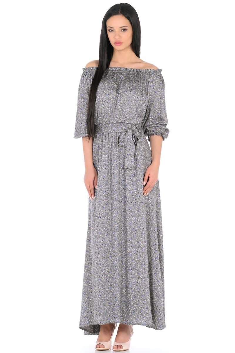 Платье HomeLike, цвет: серый, зеленый, голубой. 848. Размер 50848Женственное платье HomeLike выполнено из вискозной невесомой ткани в изысканной расцветке. Модель с расклешенной юбкой макси, изящный вырез кармен. Основания рукавов 3/4 и линия талии присобраны на мягкие резиночки, придавая эффект легкой воздушности. При желании можно обнажить плечи. Пояс придает свою изюминку, делая образ более совершенным. Это прекрасное платье дарит ощущения легкости и комфорта в процессе носки, модель безупречно садится на фигуру любого типа, скрывает возможные несовершенства, визуально стройнит, подчеркивает красоту и женственность.