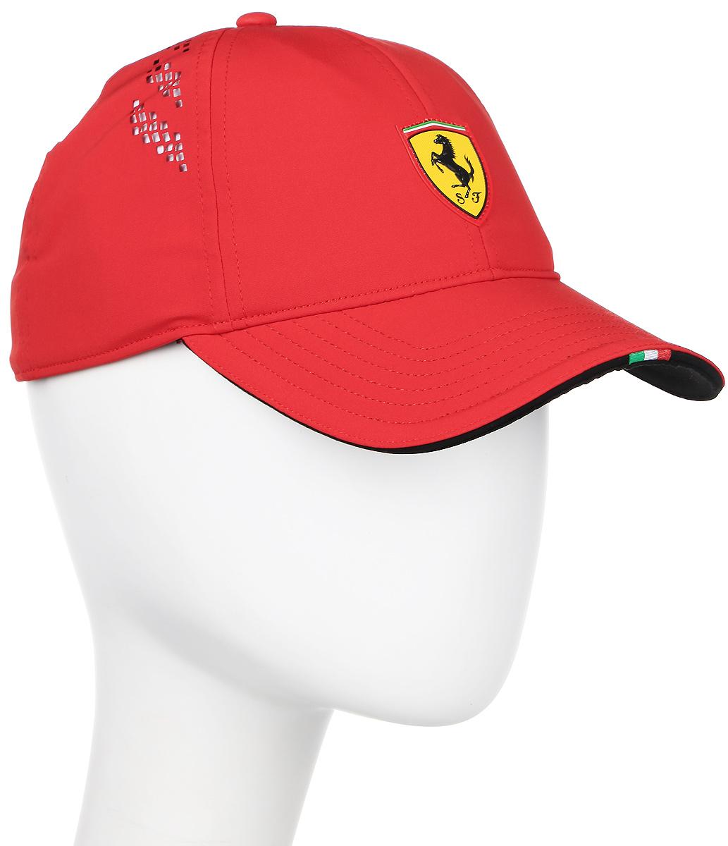 Бейсболка Puma Ferrari Fanwear force SF cap, цвет: красный. 021201_01. Размер L/XL (58)021201_01Бейсболка Ferrari Fanwear force SF cap с логотипом Ferrari и итальянским флагом на козырьке станет бессменным спутником на все заезды любимой команды. Модель имеет изогнутый козырек с контрастной внутренней стороной, плотную посадку с эластичной лентой вдоль головы и лазерную перфорацию по сторонам. Бейсболка декорирована гербом Ferrari из термопластичного полиуретана спереди и логотипом Puma сзади.