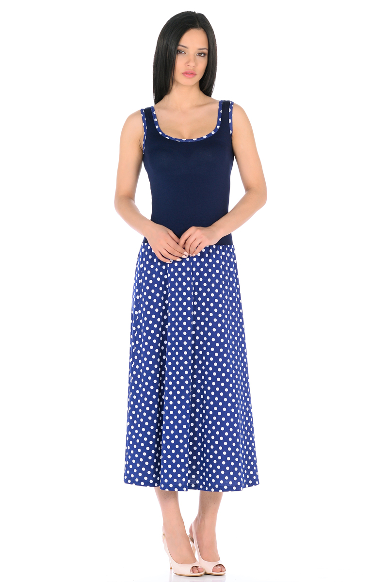 Платье HomeLike, цвет: синий, белый. 853. Размер 46853Платье HomeLike с приталенным верхом и с расклешенной юбкой миди из хлопкового полотна. Модель без рукавов, с округлым вырезом по горловине, отрезная линия талии дополнена мягкой резиночкой для наилучшей посадки по фигуре. Симпатичный рисунок на юбке платья, очень украшают лаконичный фасон. Мягкие ткани приятны для тела, удобный крой не сковывает движений, создает ощущения легкости и комфорта.