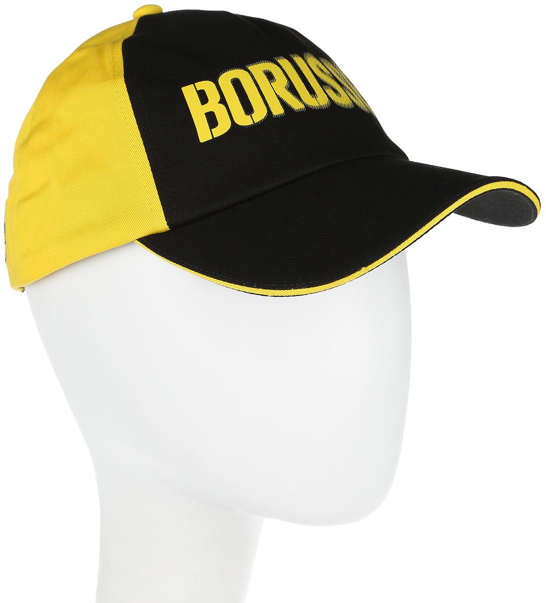 Бейсболка Puma BVB Borusse Cap, цвет: черный, желтый. 02124201. Размер универсальный02124201Бейсболка BVB Borusse Cap станет стильной деталью вашего гардероба. Модель выполнена из натурального хлопка, который обеспечивает максимальный комфорт в носке. Сзади имеется пластиковая застежка для регулировки размера. Изделие дополнено логотипом PUMA сбоку, а также логотипом ФК Borussia Dortmund. Создавайте яркие спортивные городские образы активного современного человека при помощи аксессуаров от Puma.