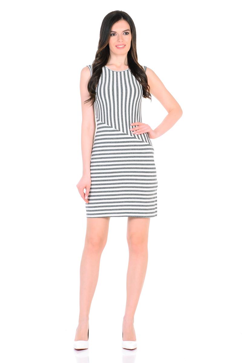 Платье HomeLike, цвет: молочный, темно-серый. 855. Размер 44855Трикотажное платье-мини HomeLike в полоску, полуприталенного силуэта, без рукавов, с округлым вырезом горловины. Ассиметричное соединение верха и низа, образует геометрический рисунок, который визуально корректирует силуэт. Благодаря приятной ткани с высоким содержанием вискозы и правильному крою с вытачками, платье отлично садится по фигуре, обеспечивая комфорт, легкость и свободу движениям.