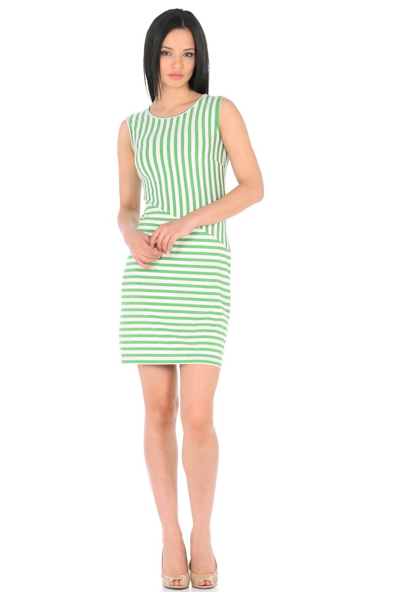 Платье HomeLike, цвет: молочный, зеленый. 855. Размер 48855Трикотажное платье-мини HomeLike в полоску, полуприталенного силуэта, без рукавов, с округлым вырезом горловины. Ассиметричное соединение верха и низа, образует геометрический рисунок, который визуально корректирует силуэт. Благодаря приятной ткани с высоким содержанием вискозы и правильному крою с вытачками, платье отлично садится по фигуре, обеспечивая комфорт, легкость и свободу движениям.
