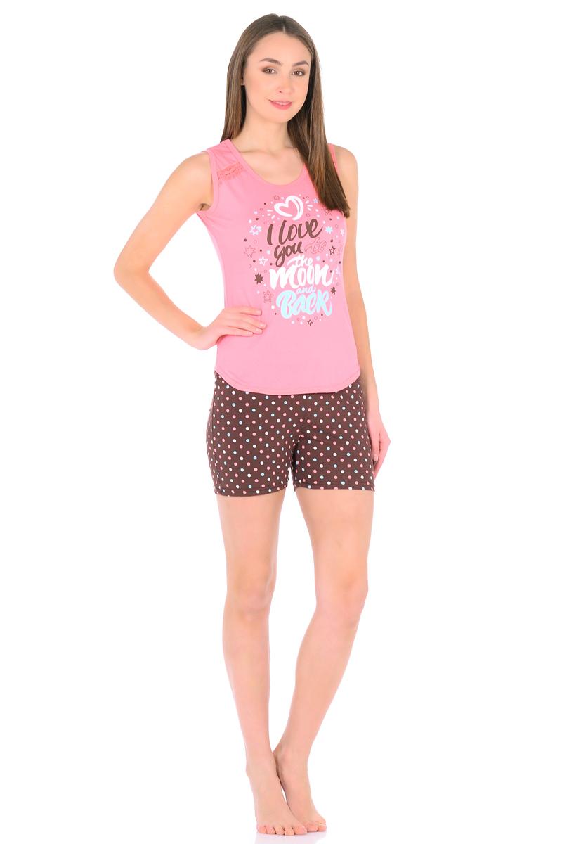 Домашний комплект женский HomeLike: майка, шорты, цвет: розовый, коричневый. 856. Размер 46856Комплект домашней одежды HomeLike, состоящий из майки и шорт, выполнен из трикотажного полотна. Майка полуприталенная, с округлым вырезом горловины, низ фигурный, оформлена ажурными вставками и принтом. Шорты из принтованного трикотажа, пояс на резинке. Ткань мягкая, приятна к телу, крой удобен и не сковывает движений, обеспечивает комфорт в процессе носки.