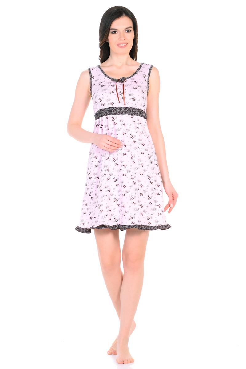 Ночная рубашка женская HomeLike, цвет: бледно-розовый, коричневый. 862. Размер 50862Ночная сорочка HomeLike из трикотажного полотна в привлекательной расцветке, свободного покроя от кокетки. Модель без рукавов, с округлым вырезом горловины по переду, на спинке V-образный вырез на запах. Основание кокетки подчеркивает контрастная планка на резиночке. Сорочка оформлена декоративным бантиком с атласной ленточкой, контрастной окантовкой по краям, и изящной оборочкой по линии низа. Хлопковый трикотаж дышит, приятен к телу, удобный крой не сковывает движений. В таком наряде гарантированы самые сладкие и спокойные сны.