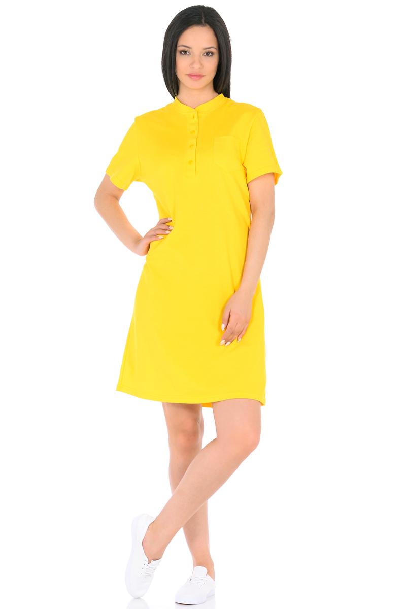 Платье HomeLike, цвет: желтый. 876. Размер 48876Стильное платье HomeLike выполнено из хлопкового-пике. Модель прямого покроя, с короткими рукавами, со шлицей в среднем шве спинки. Воротник стойка с короткой планкой на пуговицах и небольшой накладной карман на полочке придают платью спортивный оттенок. Такое платье стильно смотрится, особенно в сочетании с предметами гардероба в спортивном стиле. Пике материал приятный к телу, практичный и износостойкий, крой удобный, не сковывает движений, обеспечивает комфорт.