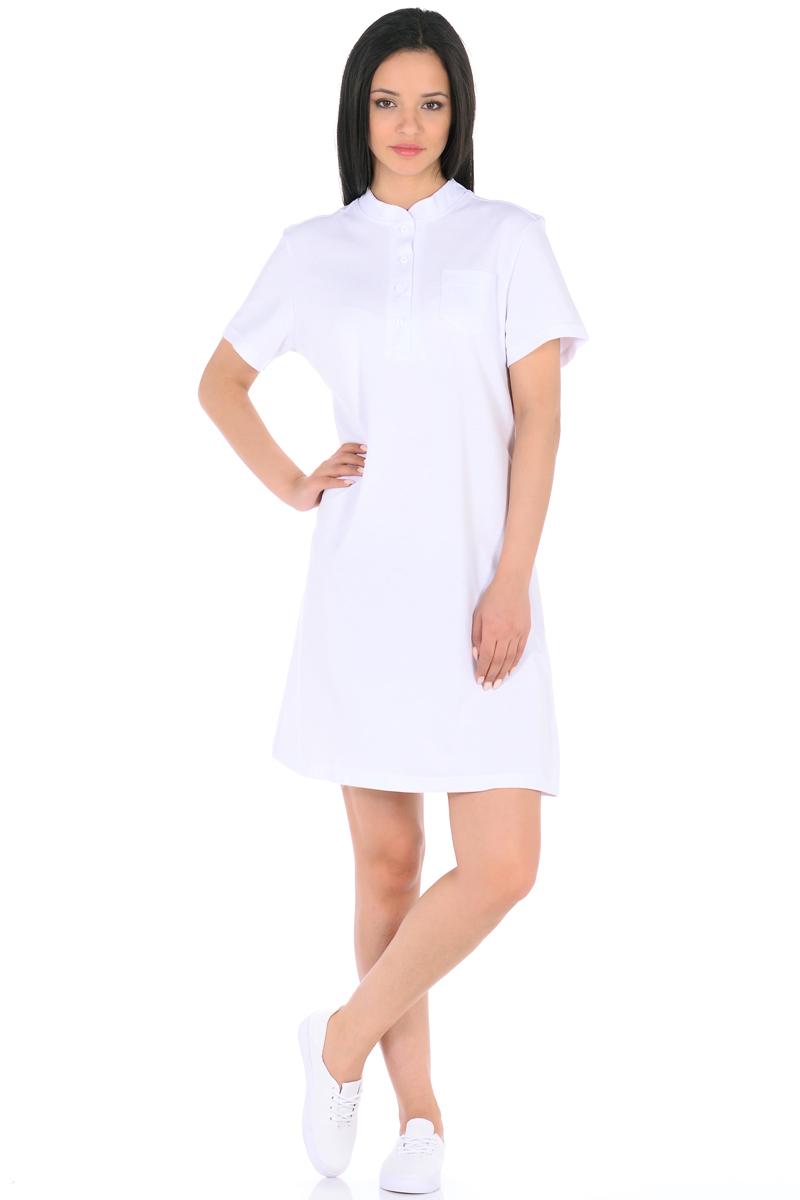 Платье HomeLike, цвет: белый. 876. Размер 44876Стильное платье HomeLike выполнено из хлопкового-пике. Модель прямого покроя, с короткими рукавами, со шлицей в среднем шве спинки. Воротник стойка с короткой планкой на пуговицах и небольшой накладной карман на полочке придают платью спортивный оттенок. Такое платье стильно смотрится, особенно в сочетании с предметами гардероба в спортивном стиле. Пике материал приятный к телу, практичный и износостойкий, крой удобный, не сковывает движений, обеспечивает комфорт.